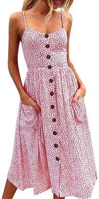 Toamen Women's Sexy Buttons Printing Off Shoulder Sleeveless Dress Princess Dress