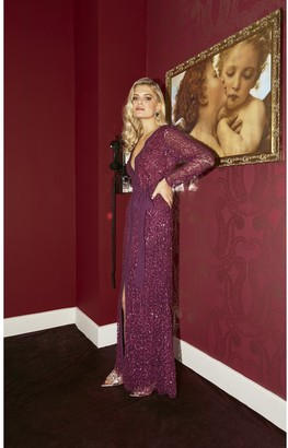 Little Mistress Quinn Plum Embellished Sequin Maxi Dress