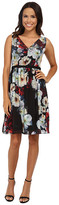 Maggy London Printed Chiffon Autumn Floral Fit and Flare