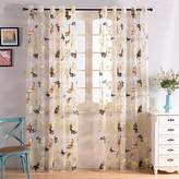 Top Finel Butterfly Window Sheers Curtains Panels Voile Gauze For Kids Girls Room 76 X 84 inch Length Set of 2,Grommets Top