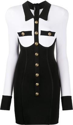 Balmain Buttoned Two-Tone Corset Dress