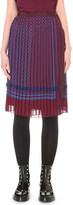 Sacai Pleated geometric-print crepe skirt