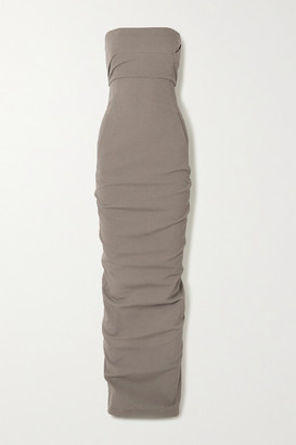 Rick Owens Strapless Stretch Cotton-blend Crepe Maxi Dress - Metallic
