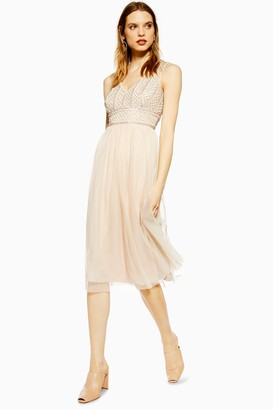 Womens **Nude Embellished Midi Dress By Lace & Beads - Nude
