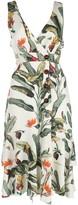 PatBO crochet-panel tropical-print dress