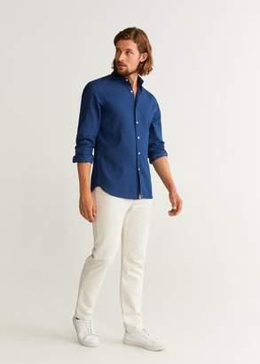 MANGO MAN - Slim fit embroidered real indigo shirt indigo blue - XXS - Men