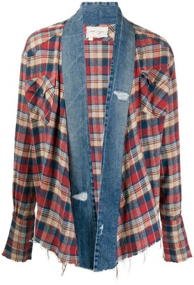 Greg Lauren Checked Denim-Trimmed Shirt Jacket