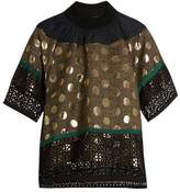 Kolor Contrast-panelled short-sleeved top