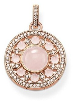 """Thomas Sabo Glam & Soul""""Ornament Silver Women's Pendant Gold Plated with Clear CZ crystalsPE562417(9"""