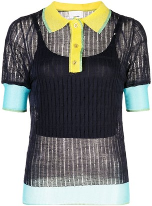 I Am Chen Silk Panelled Polo Top