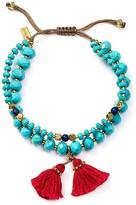 Chan Luu Turquoise & Lapis Double Strand Beaded Tassel Bracelet