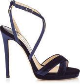 Jimmy Choo LOLA 120 Navy Velvet and Satin Platform Sandals