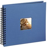 Hama Fine Art photo album, 50 black pages (25 sheets), spiral album 28 x 24 cm, with cut-out window in which a picture can be inserted, azure blue