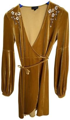 Topshop Tophop Yellow Velvet Dress for Women