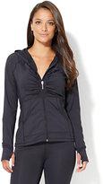 NY&C Velocity - Shirred Zip-Front Hooded Jacket - Black