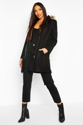 boohoo Faux Fur Trim Hooded Wool Look Coat