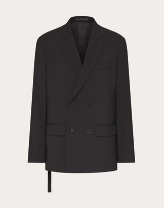 Valentino D/b Technical Wool Jacket With Open Side And Tie Man Black Polyester 53%, Virgin Wool 43%, Elastane 4% 44