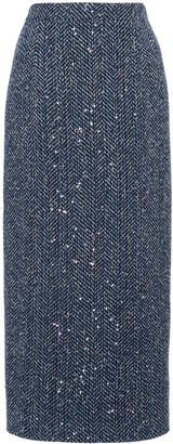 Alessandra Rich Sequined Cotton-Blend Herringbone Midi Skirt
