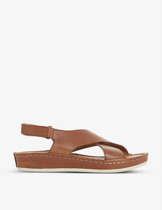 Bertie Lauder crossover leather wedged sandals