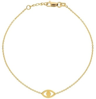 Curata 14k Yellow Gold Adjustable Cut Out Evil Eye Bracelet with Spring Ring Closure - 7.50 Inch