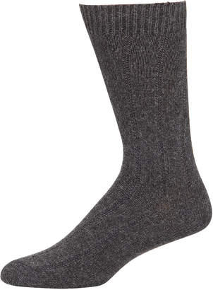 Neiman Marcus Men's Ribbed Cashmere Socks, Grey