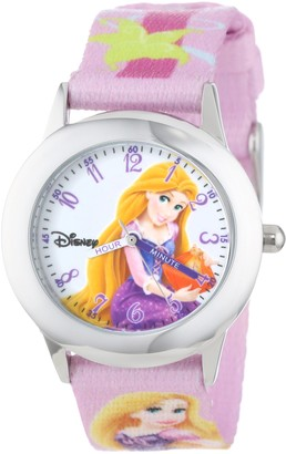"""Disney Kids' W000862 """"Rapunzel Time Teacher"""" Stainless Steel Watch with Printed Band"""