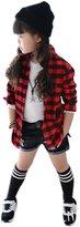 uxcell® Girls Plaids Point Collar Button Down Shirt Allegra Kids Black