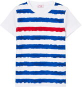 Il Gufo White, Blue and Red Stripe Tee