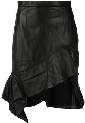 Alexander Wang Leather Ruche Asymmetric Hem Skirt