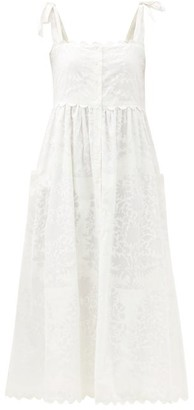 Juliet Dunn Tie-shoulder Scalloped-edge Printed Cotton Dress - White