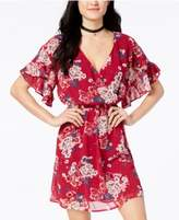 As U Wish Juniors' Printed Ruffle-Sleeved Dress