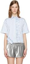 MSGM Blue & White Ruffle Shirt