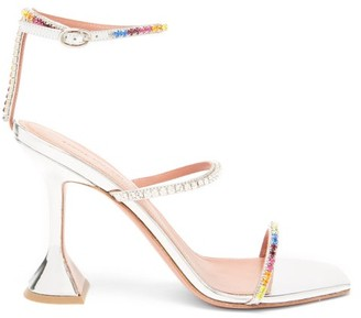 Amina Muaddi Gilda Crystal-embellished Leather Sandals - Silver Multi