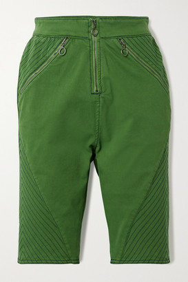 House of Holland Stretch-organic Cotton Twill Shorts - Green