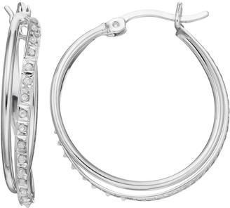 Mystique Diamond Platinum Over Silver Twist Hoop Earrings