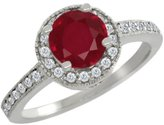 Gem Stone King 1.35 Ct Round Red Ruby White Diamond 18K White Gold Ring