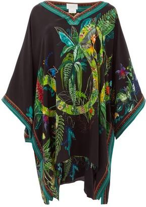 Camilla River Cruise Embellished Silk Kaftan - Womens - Black Print