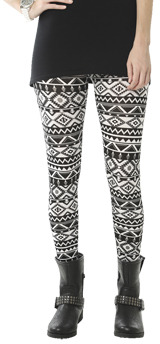 Wet Seal WetSeal Aztec Tribal Print Legging Black/white