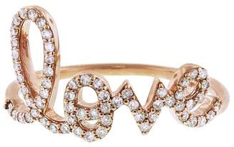 Sydney Evan Large Diamond Love Script Ring - Rose Gold