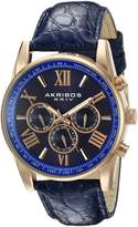 Akribos XXIV Men's AK864RGBU Multifunction Rose Tone and Leather Strap Watch