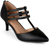 Journee Collection Black Pacey T-Strap Pump