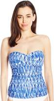 Anne Cole Women's Indigo Tide Twist Front Shirred Bandeau Tankini