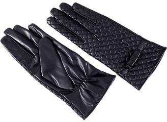 Insun Women's Warm Lining Touchscreen Lambskin leather Gloves L Black
