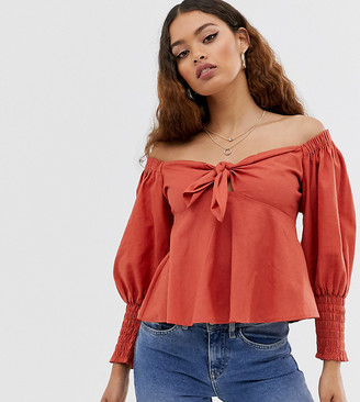 Asos DESIGN Petite tie front top with shirred sleeves