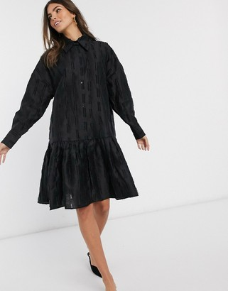 And other stories & textured jacquard button up smock dress in black