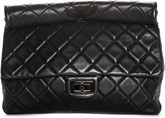 Chanel Black Quilted Lambskin Leather 2.55 Reissue Single Flap Roll Clutch