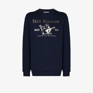 True Religion World Tour logo print sweater