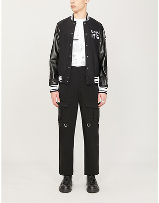 Boy London Logo-print wool-blend and faux-leather varsity jacket
