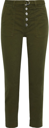 J Brand Kyrah Cropped Belted Cotton-blend Twill Slim-leg Pants
