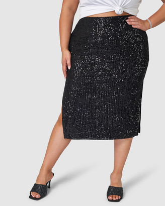 Pink Dusk - Women's Black Pencil skirts - Princess Charming Sequin Skirt - Size One Size, 16 at The Iconic